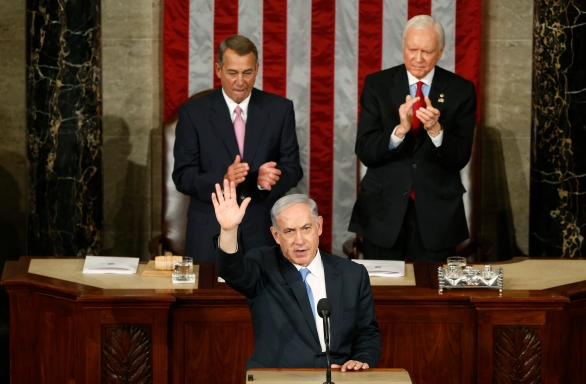 Israeli Prime Minister Netanyahu acknowledges applause at the end of his speech to joint meeting of Congress on Capitol Hill in Washington